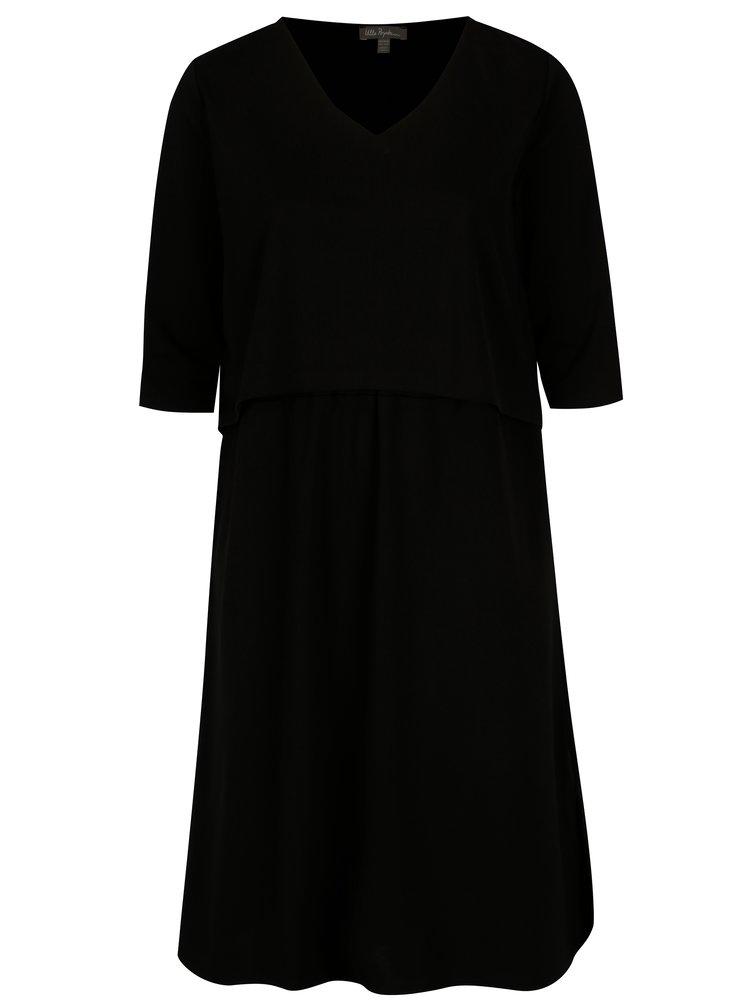 Černé šaty s kapsami a 3/4 rukávem Ulla Popken