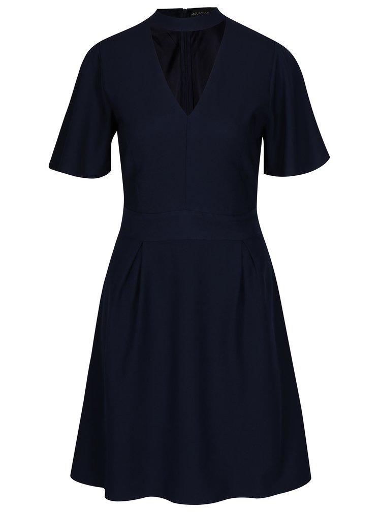 Tmavě modré áčkové šaty s chokerem Mela London