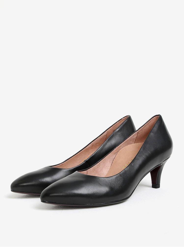 Pantofi negri din piele cu toc conic Tamaris