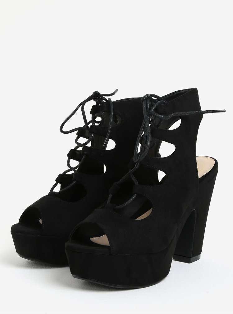 Sandale negre cu platforma si toc inalt - MISSGUIDED