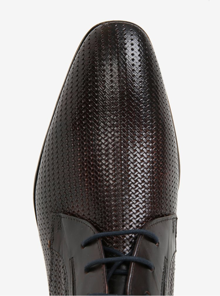 Tmavě hnědé pánské kožené polobotky bugatti Mosario