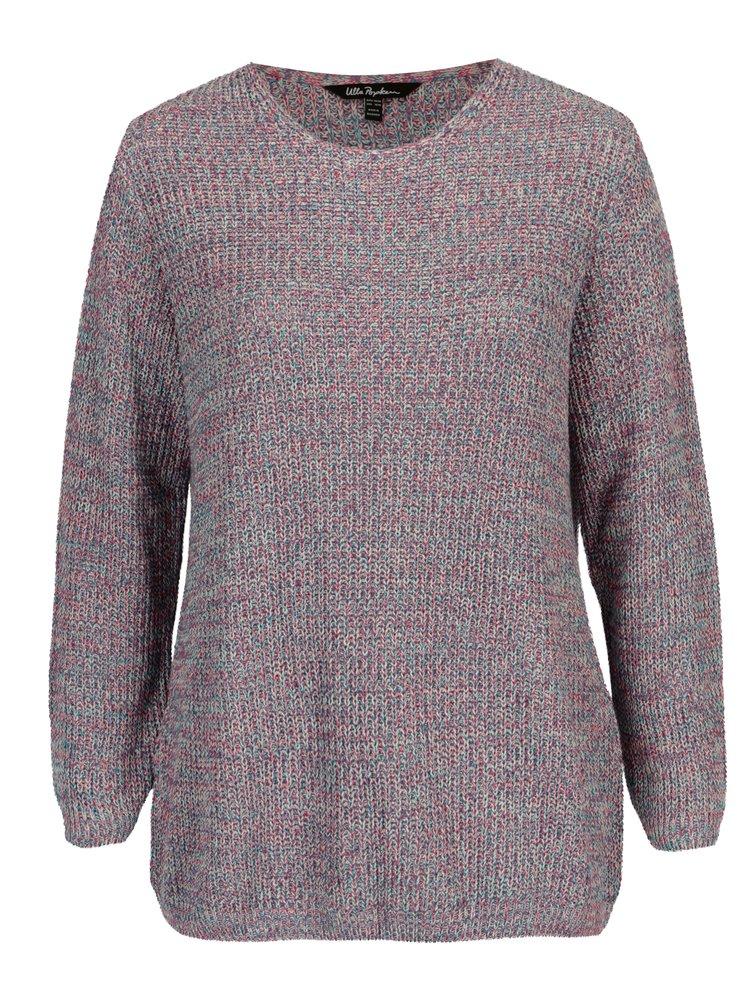 Modro-růžový žebrovaný svetr Ulla Popken