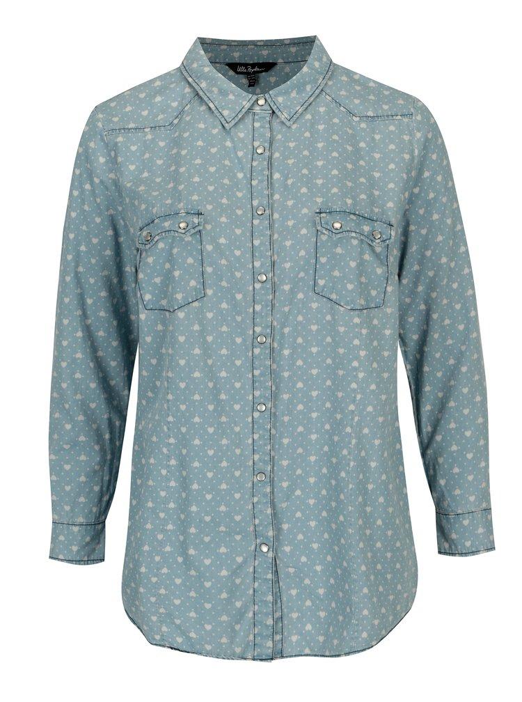 Světle modrá vzorovaná košile Ulla Popken