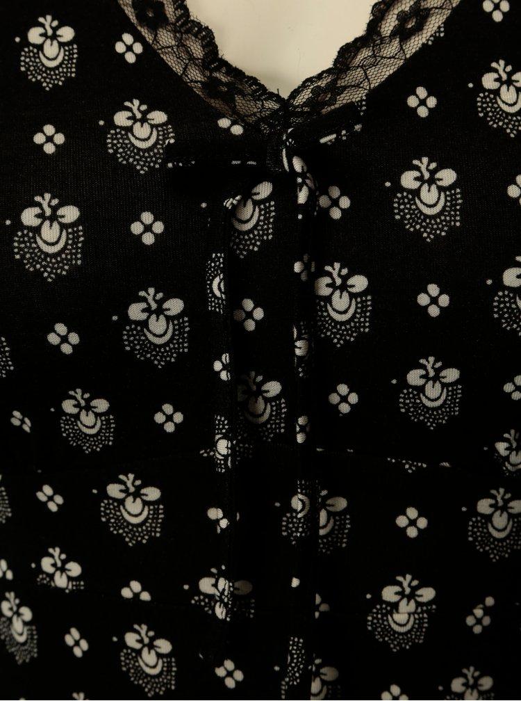 Camasa de noapte neagra cu dantela si print abstract  M&Co