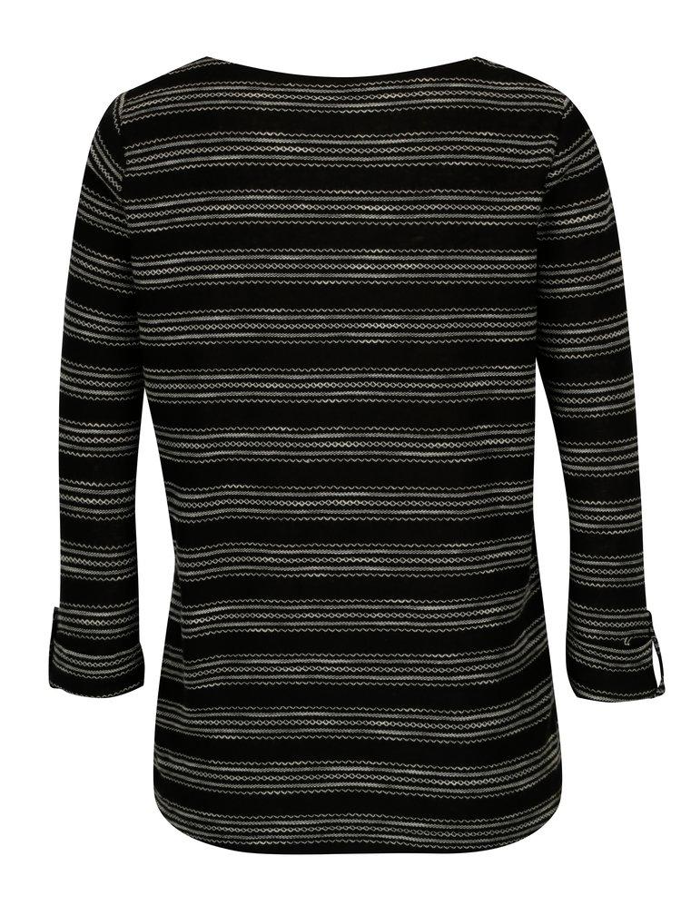 Černé vzorované tričko s 3/4 rukávem M&Co