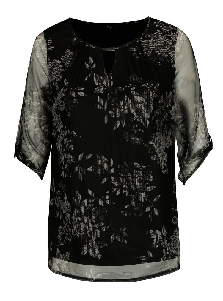 Černá květovaná halenka s průsvitnými rukávy M&Co