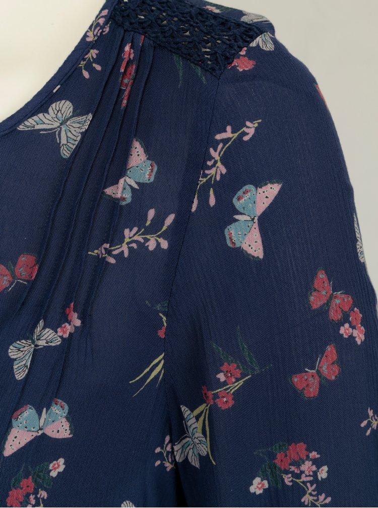 Modrá vzorovaná halenka s dlouhým rukávem M&Co