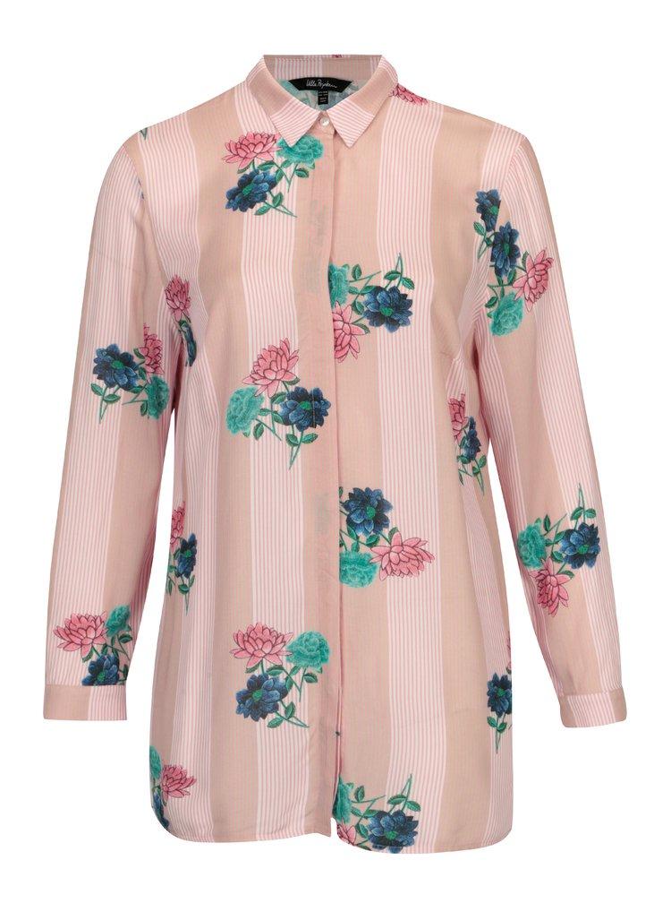 Růžová květovaná košile s dlouhým rukávem Ulla Popken