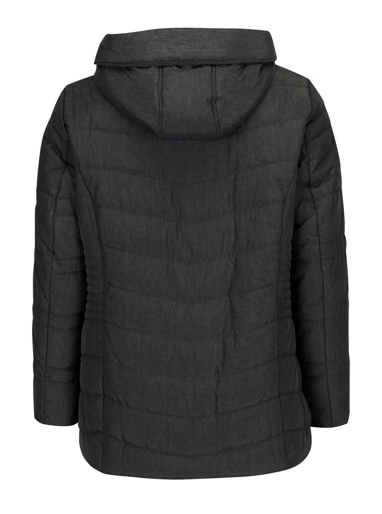 Tmavě šedá prošívaná bunda s kapucí Ulla Popken