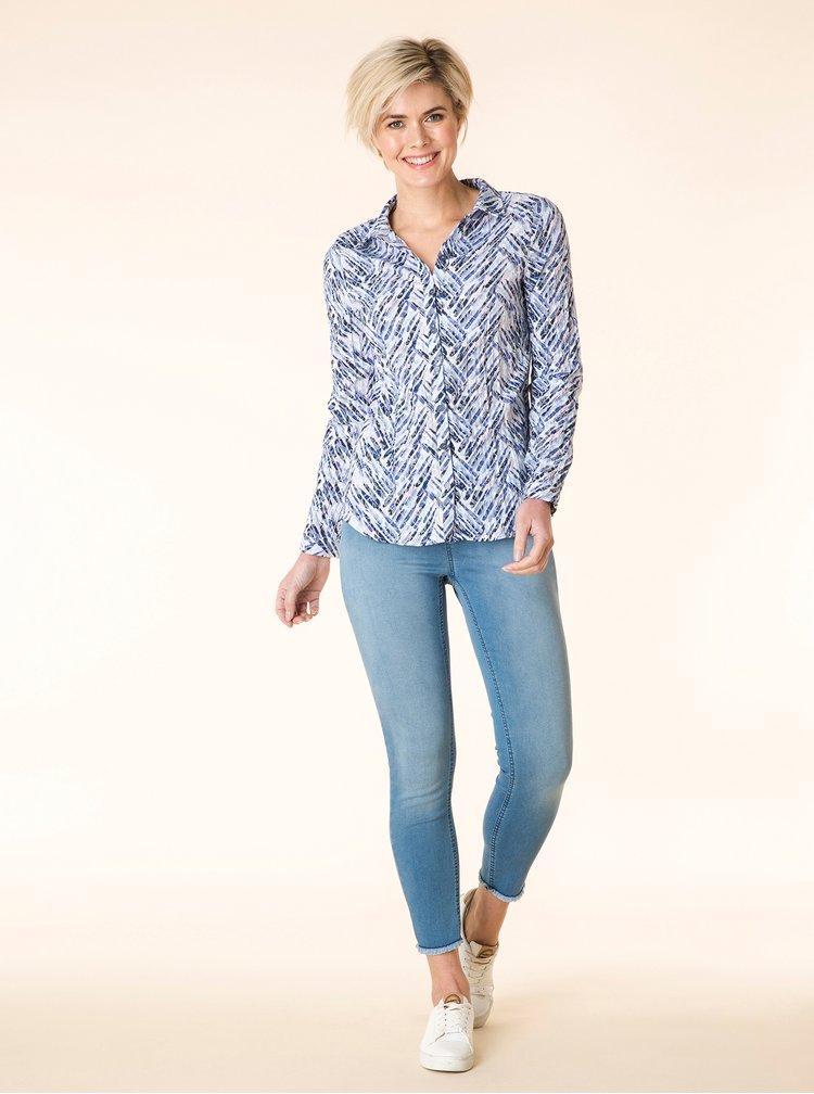 Krémovo-modrá vzorovaná košile se zmačkaným efektem Yest