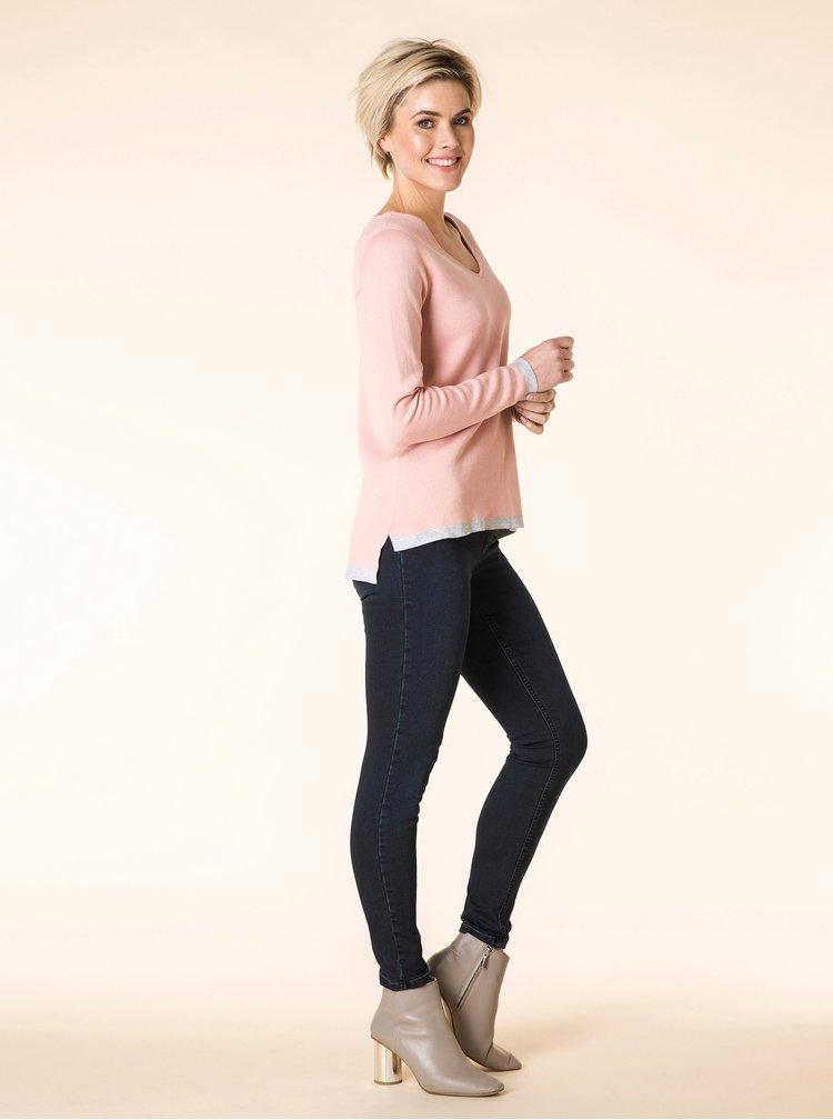Šedo-růžový oboustranný žíhaný svetr Yest
