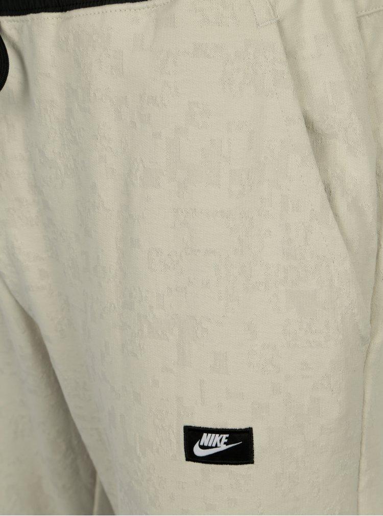 Světle šedé pánské vzorované slim fit tepláky Nike