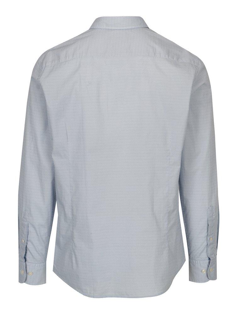 Bílo-modrá vzorovaná formální slim fit košile Hackett London
