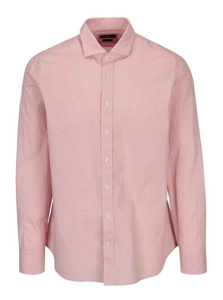 Bílo-červená vzorovaná slim fit košile Hackett London