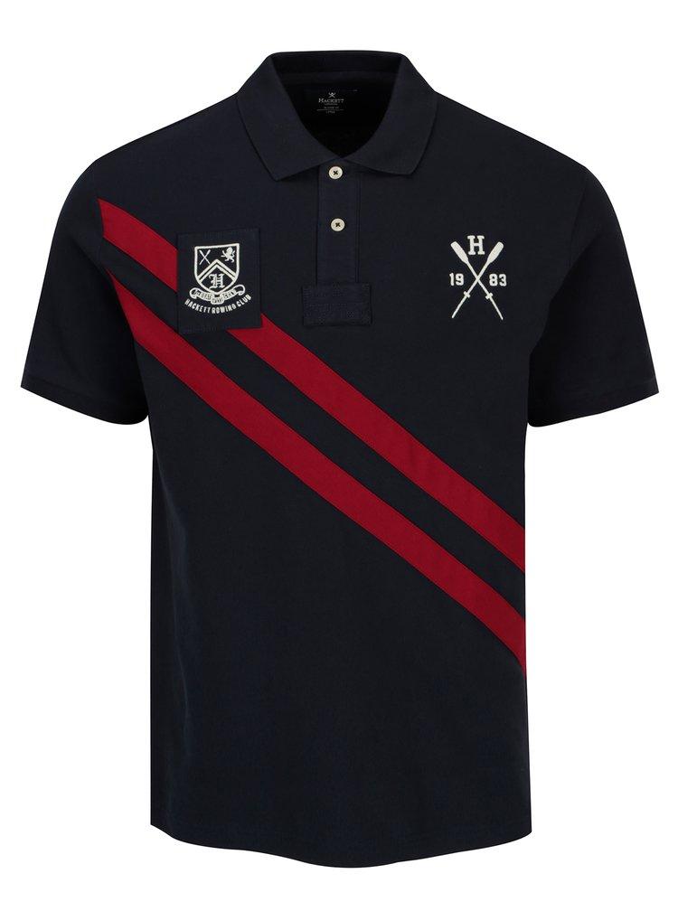 Tmavě modré polo tričko s nášivkami Hackett London