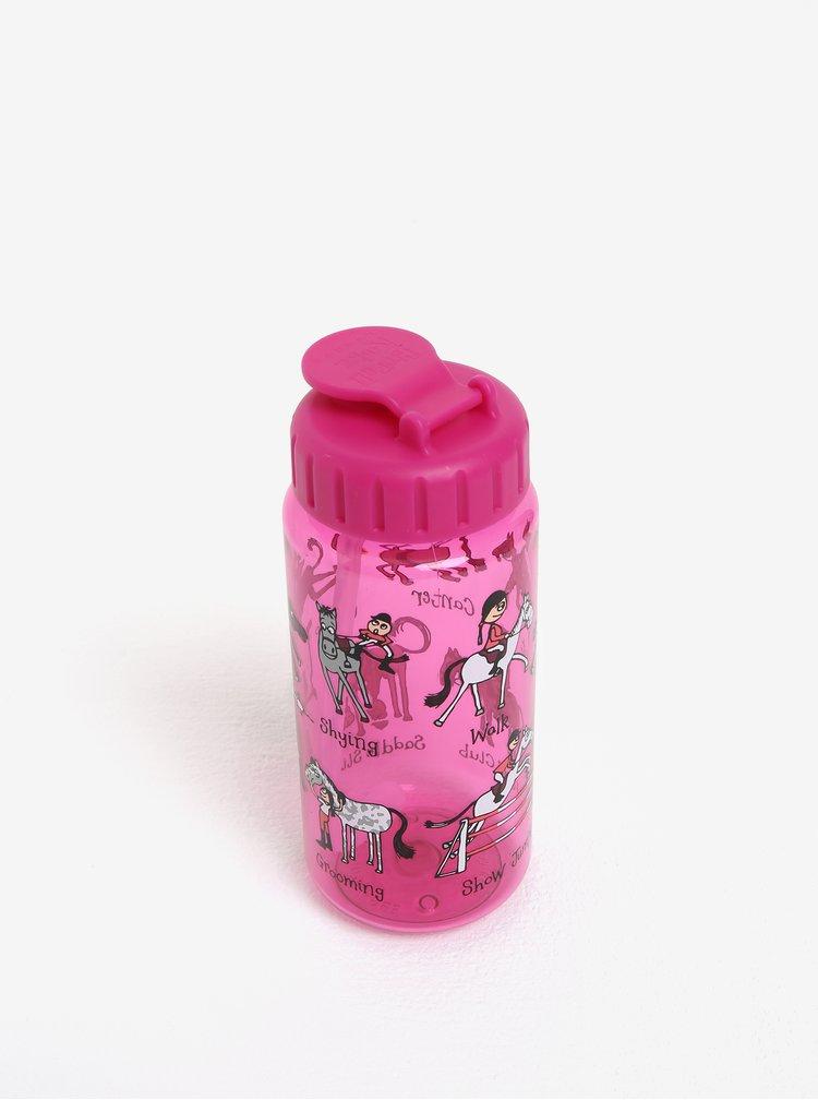 Růžová holčičí láhev s potiskem Tyrrell Katz Horse
