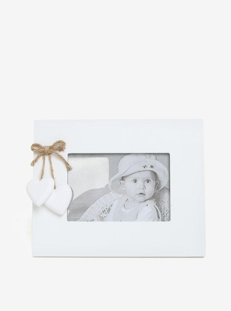 Bílý dřevěný fotorámeček se srdíčky Dakls