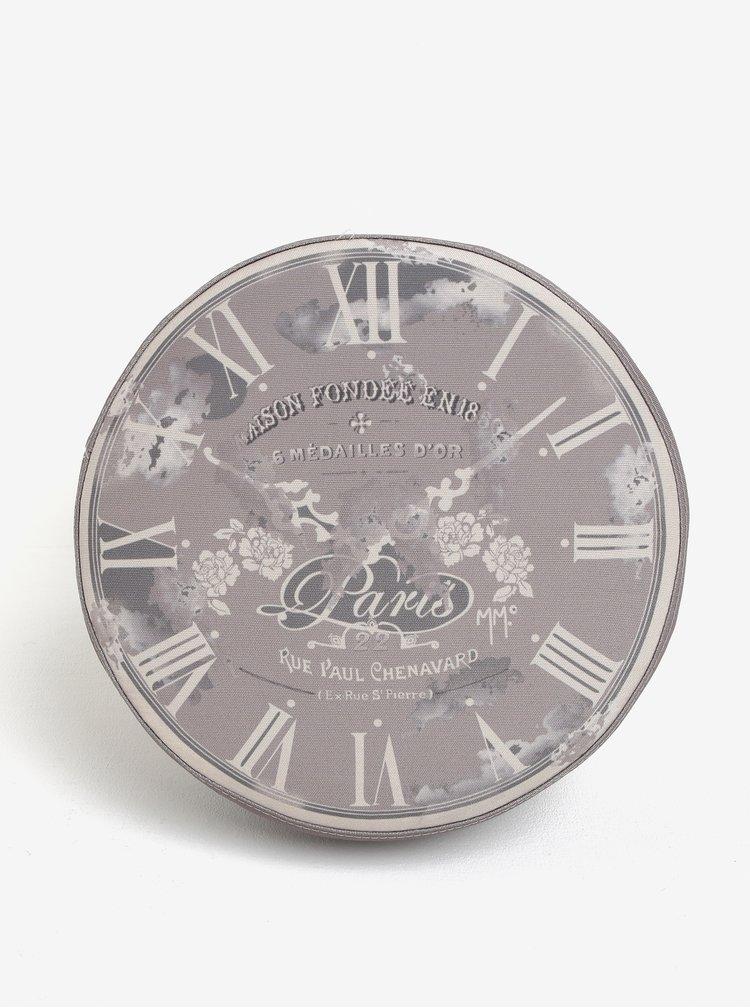 Šedý sedák s motivem ručičkových hodin Dakls