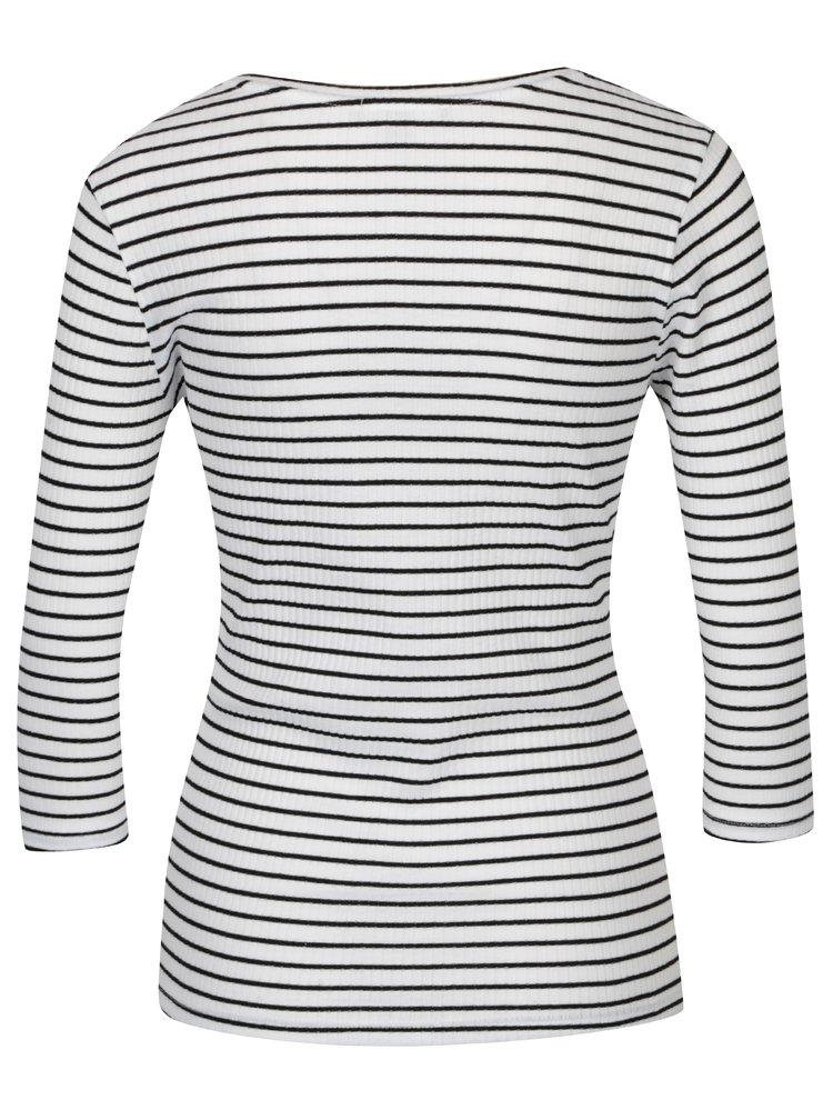 Bílé pruhované žebrované tričko s patentkami na ramenou TALLY WEiJL
