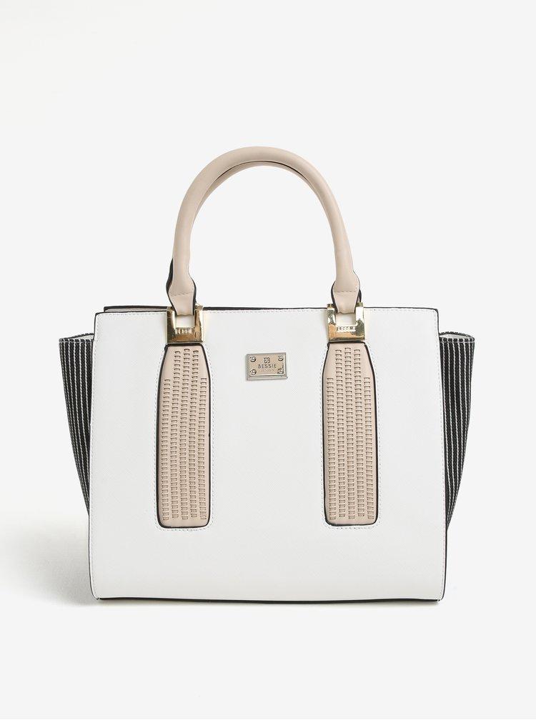 Krémová kabelka s koženkovou aplikací Bessie London