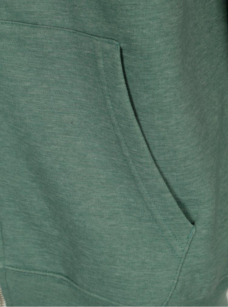 Modro-zelená pánská žíhaná mikina s kapucí Quiksilver
