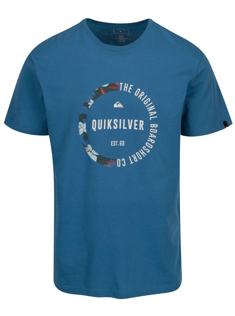 Modré pánské regular fit tričko s potiskem Quiksilver