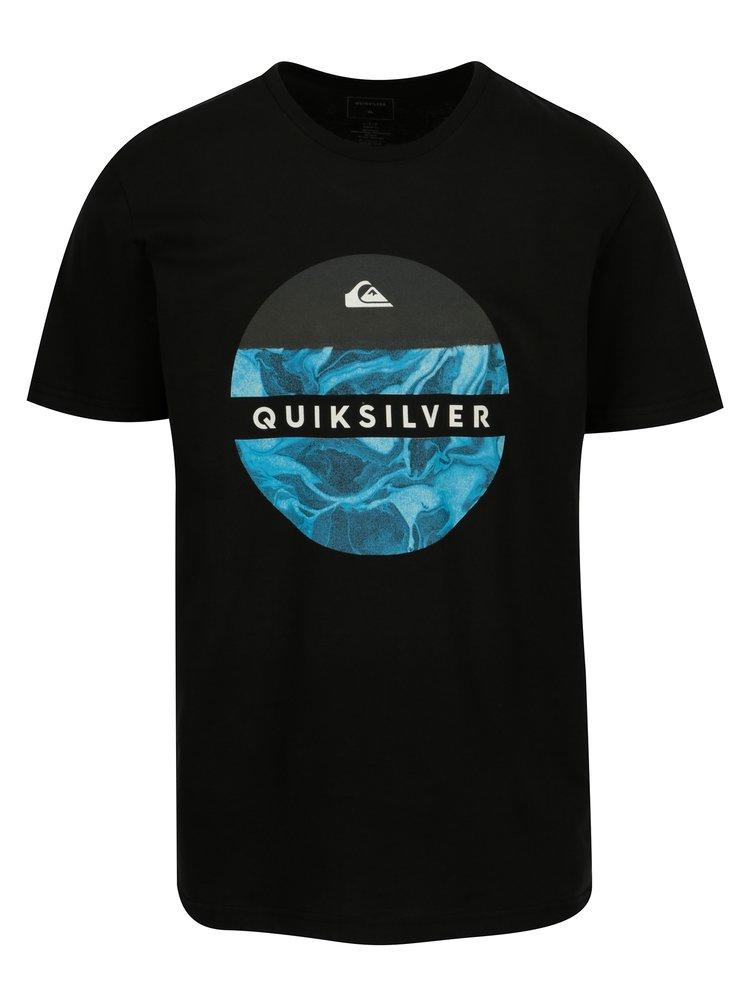 Tricou negru regular fit cu print pentru barbati - Quiksilver