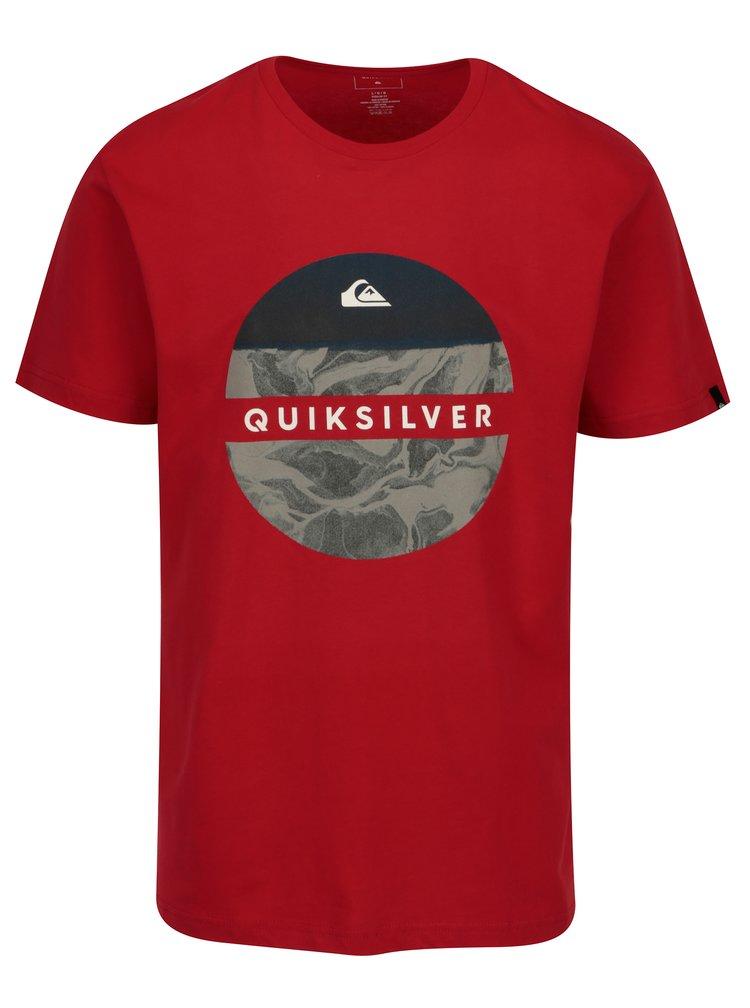 Šedo-červené pánské regular fit tričko s potiskem Quiksilver