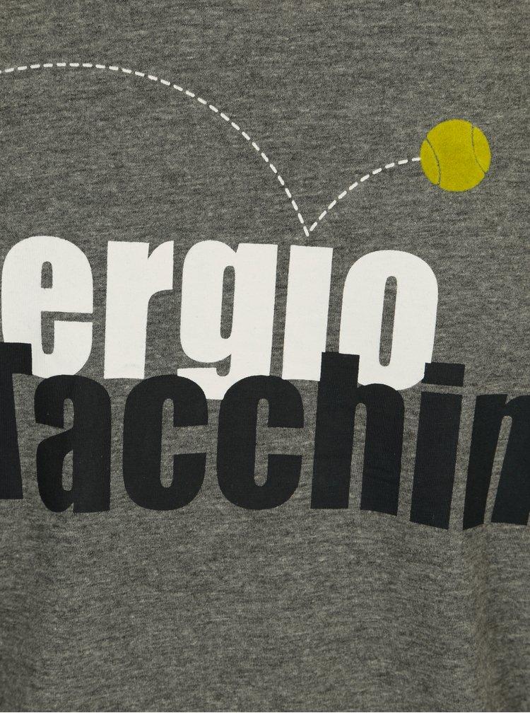 Šedé pánské tričko s potiskem Sergio Tacchini Leto