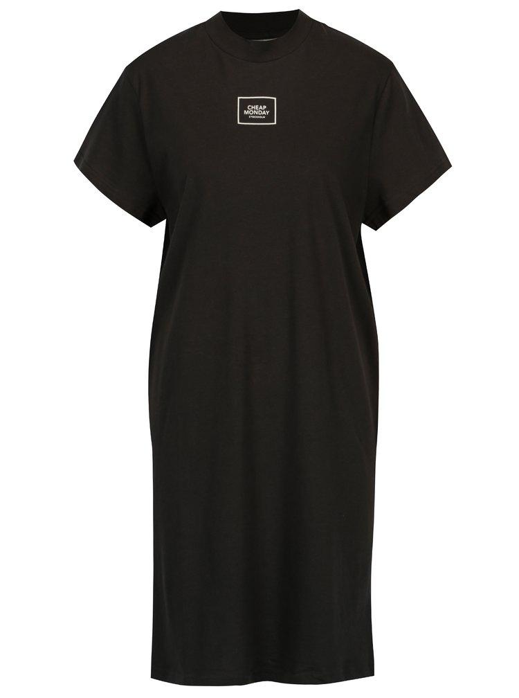 Rochie neagra din bumbac organic cu print - Cheap Monday
