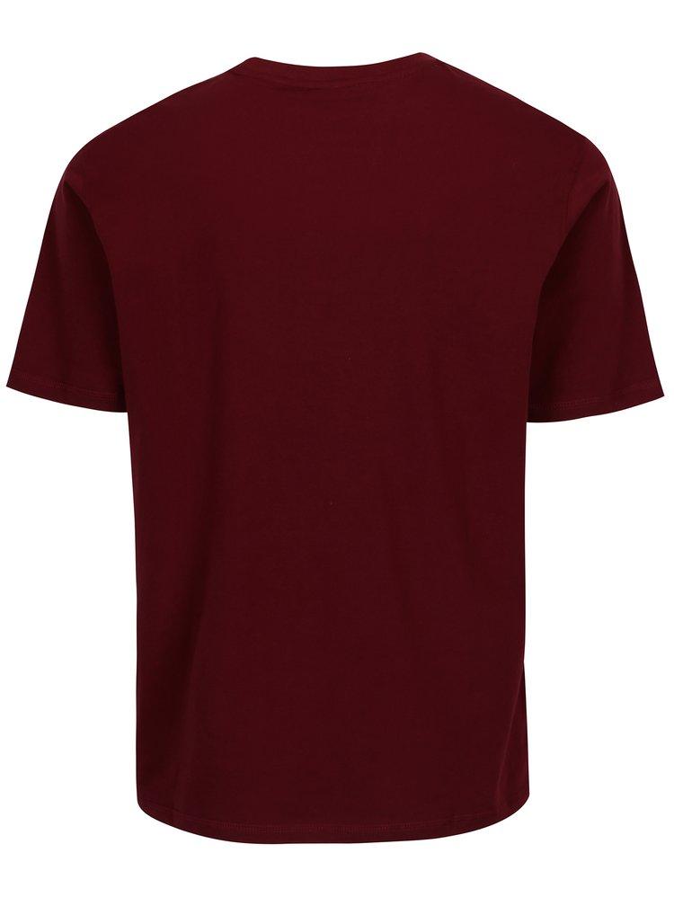 Vínové pánské tričko s potiskem Sergio Tacchini Leto