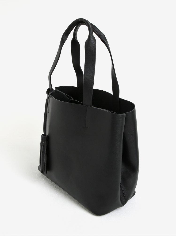 Geanta neagra shopper cu portfard 2in1 - Pieces Illu