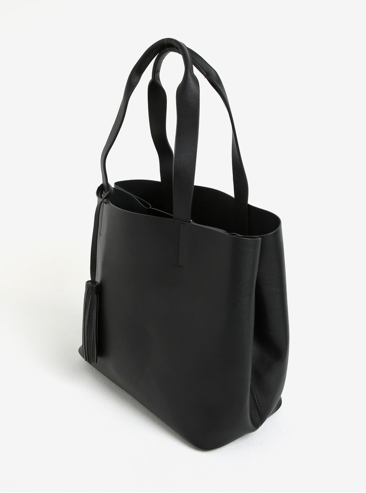 Černý shopper s pouzderm 2v1 Pieces Illu