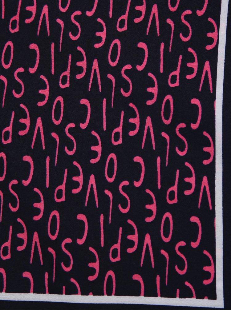 Esarfa bleumarin cu print - Pieces Mia