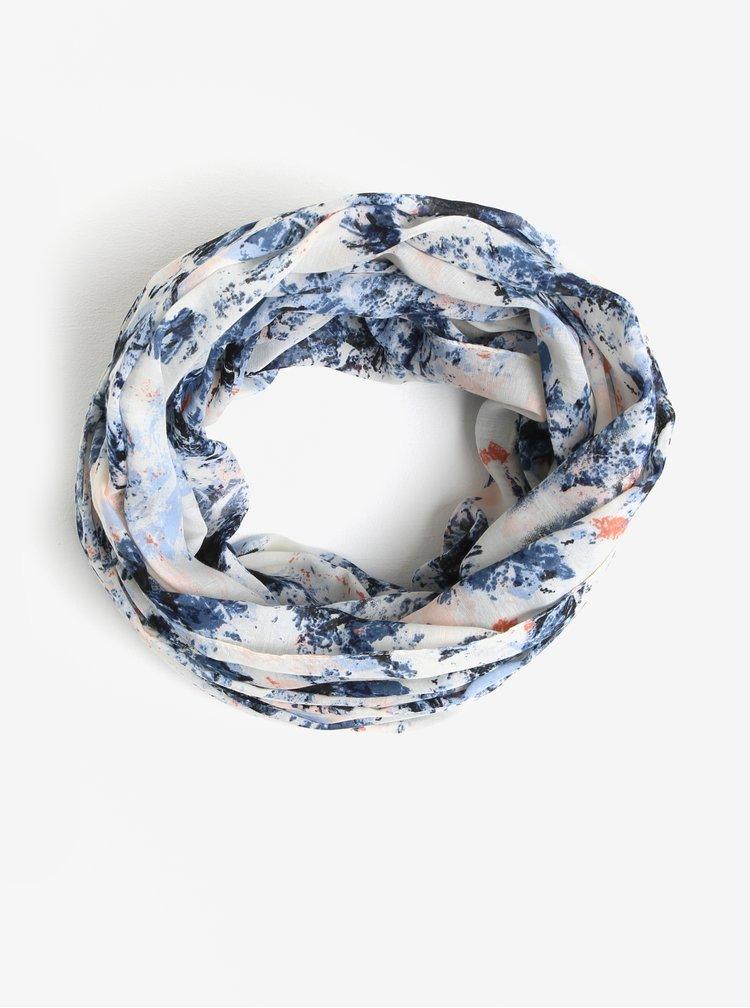 Modro-krémový vzorovaný dutý šátek Pieces Minna