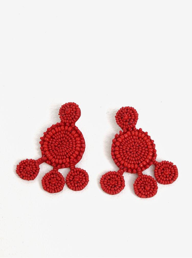 Červené náušnice z korálků Pieces Manilla