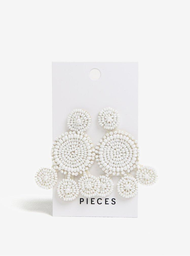 Bílé náušnice z korálků Pieces Manilla