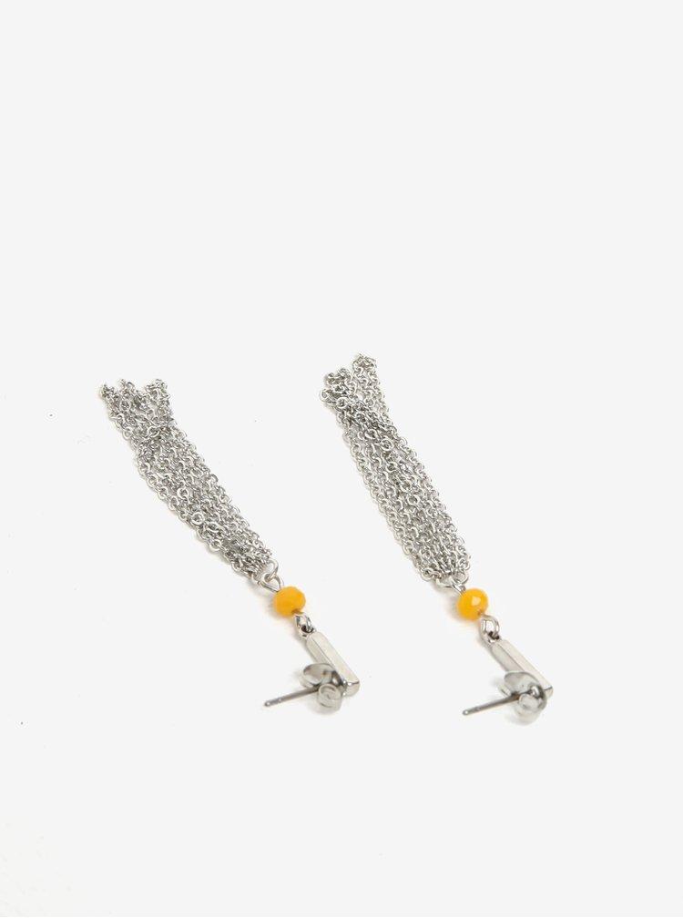 Náušnice ve stříbrné barvě se žlutým korálkem Pieces Jenner