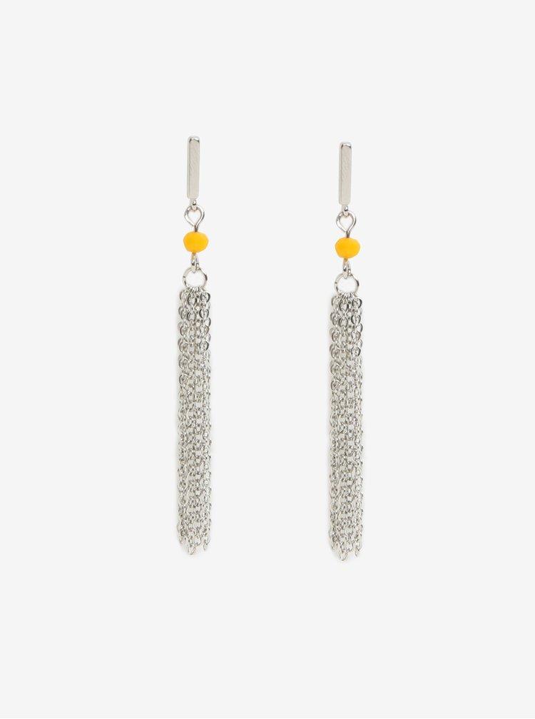 Cercei lungi argintii cu detaliu galben - Pieces Jenner