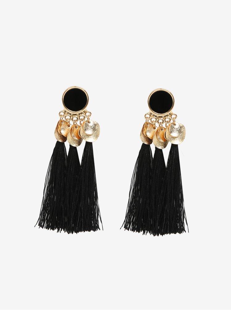 Černé náušnice s detaily ve zlaté barvě Pieces Jamila