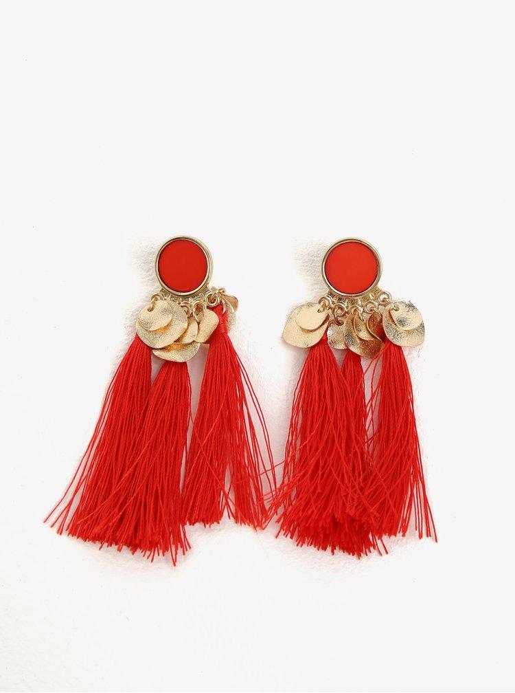 Cercei rosii cu detalii aurii si ciucuri - Pieces Jamila