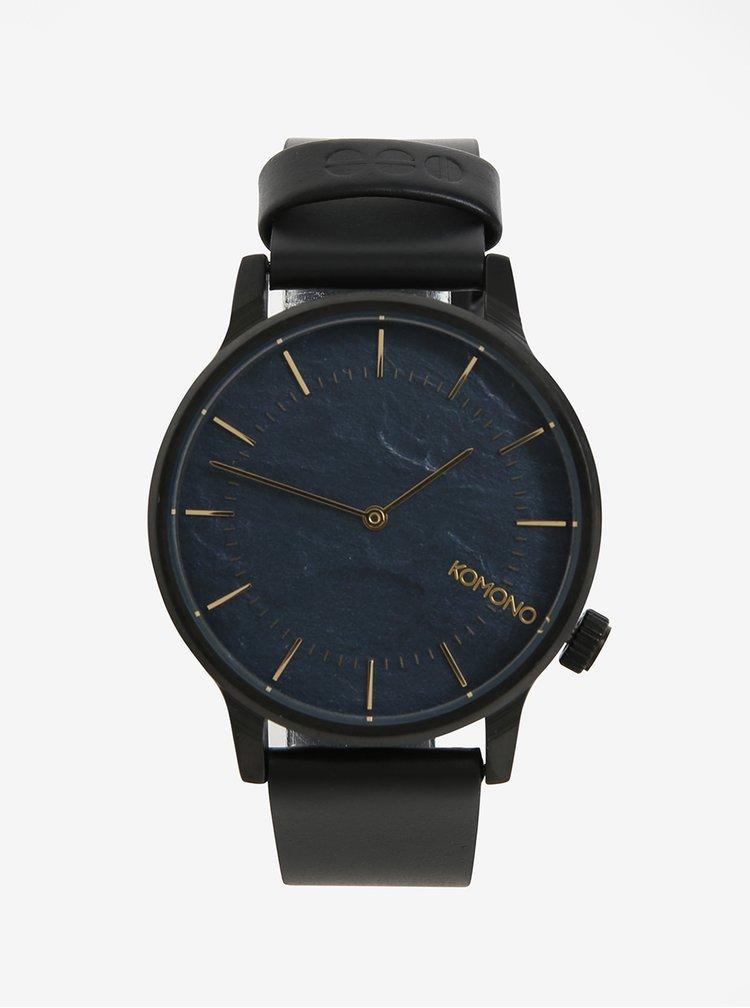 Černé unisex hodinky s koženým páskem Komono Winston
