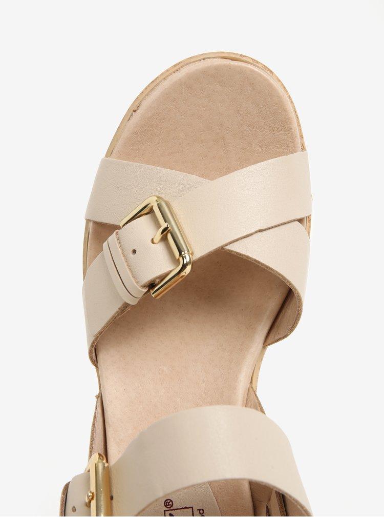 Béžové kožené sandály na platformě Pikolinos Mykonos