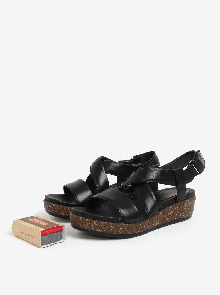 Černé kožené sandály na klínku Pikolinos Mykonos