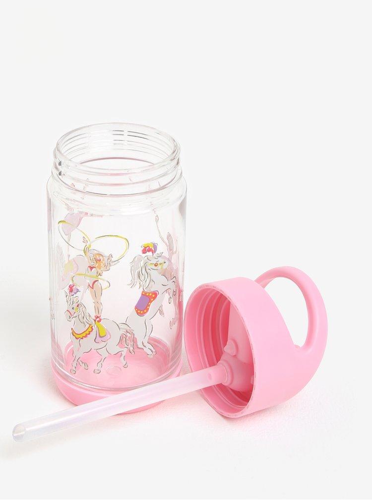Růžová holčičí láhev na pití s brčkem Cath Kidston 350 ml