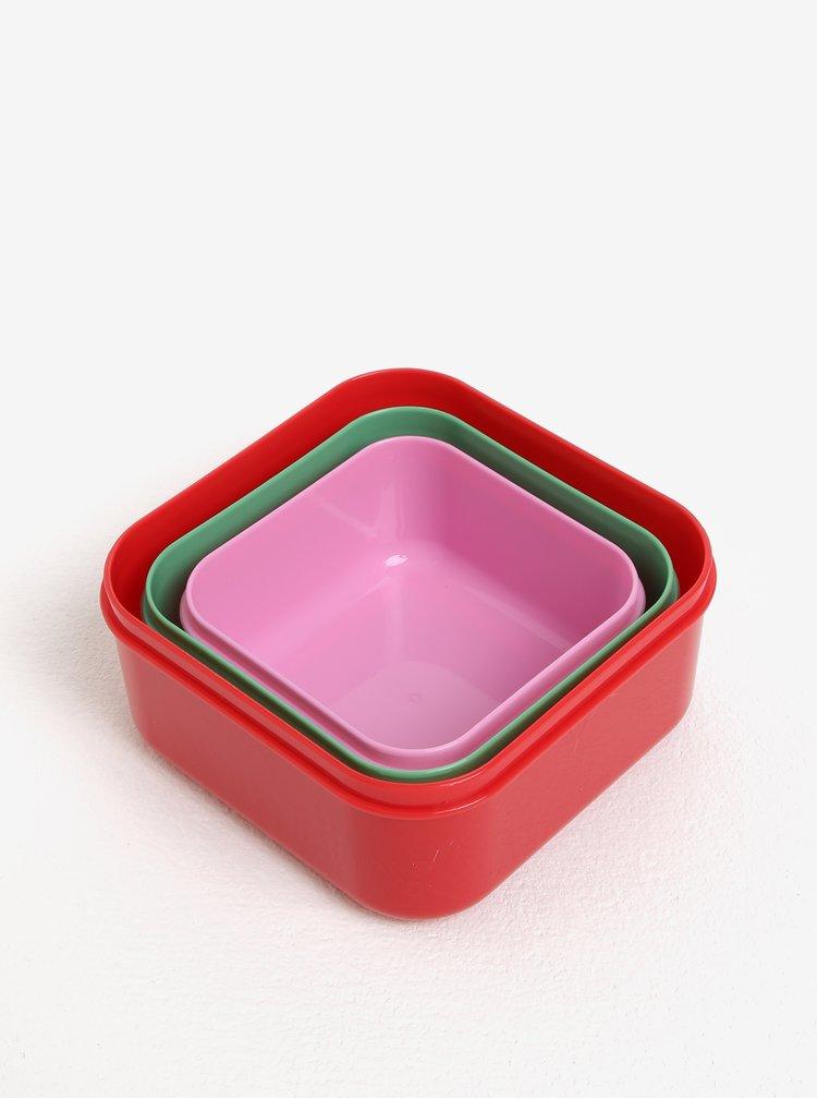 Sada tří dětských svačinových boxů v červené, zelené a růžové barvě Cath Kidston