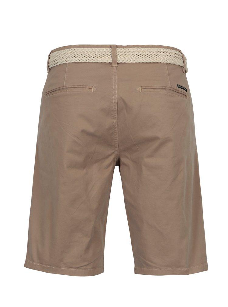 Pantaloni scurti maro deschis cu curea pentru barbati  Broadway Wayne