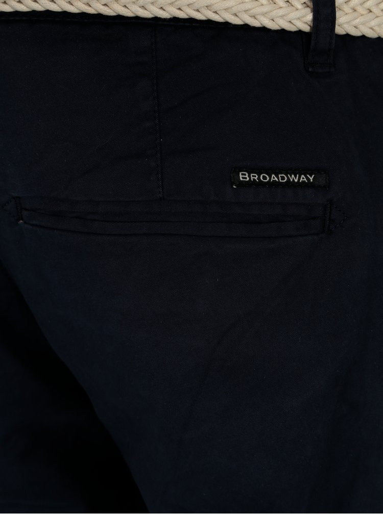Tmavomodré pánske chino kraťasy s opaskom Broadway Wayne