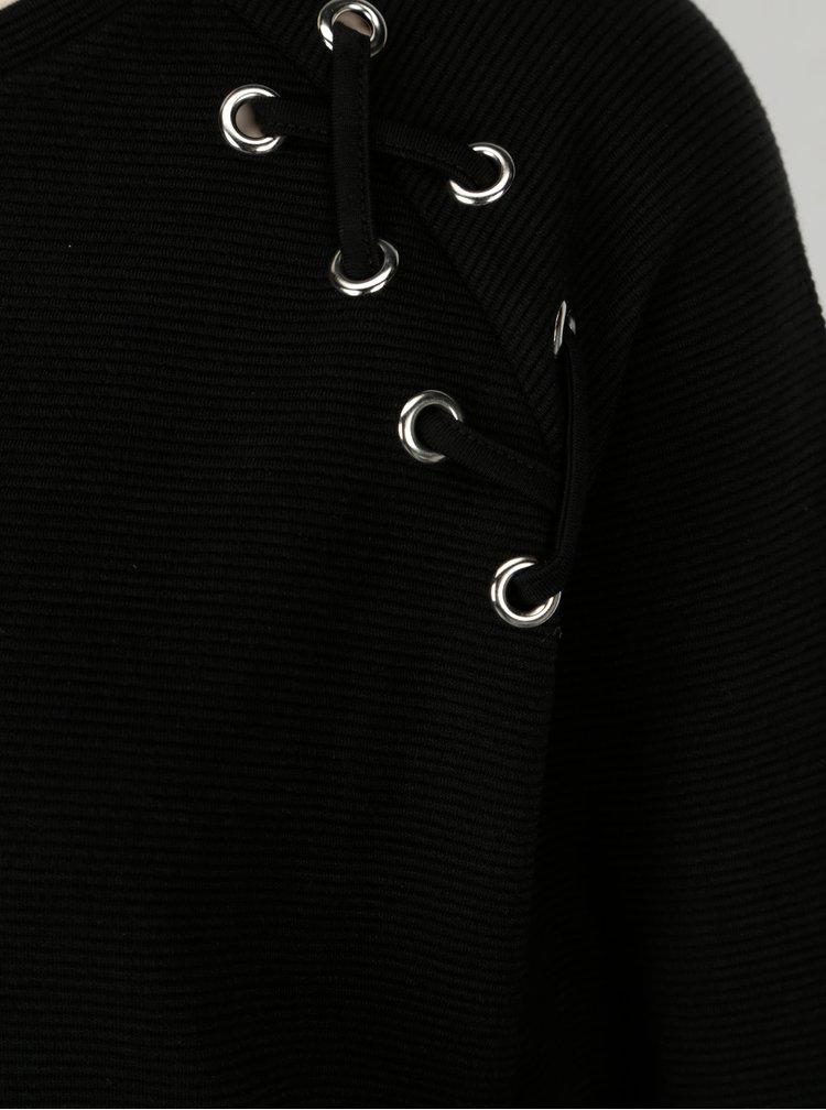 Bluza neagra cu siret pe umar pentru femei Broadway Blaise