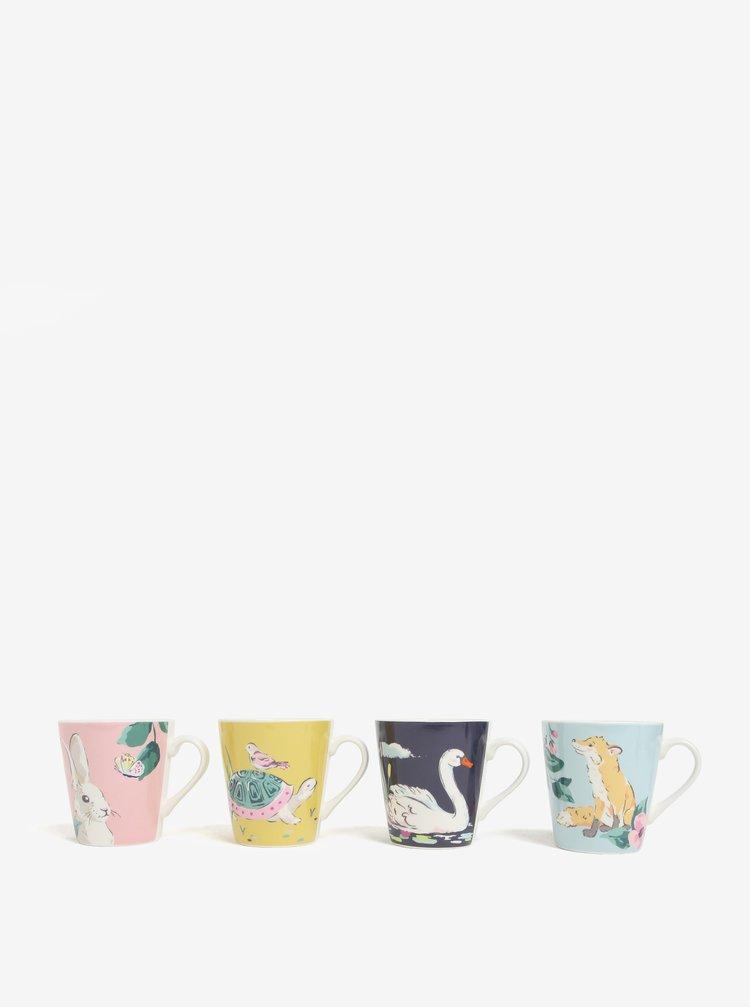 Sada čtyř hrnků ve žluté, růžové a modré barvě Cath Kidston